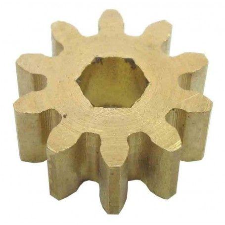 Piñón latón módulo 1, ejes 4 mm.