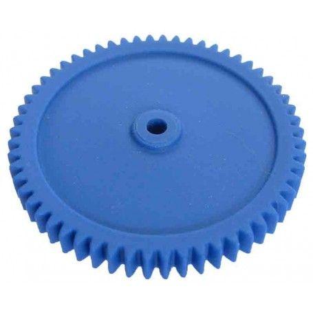 Engrane 58 dientes, módulo 1, ejes 4 mm.
