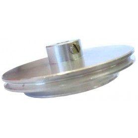 Polea doble de aluminio @56/43mm ejes 4mm