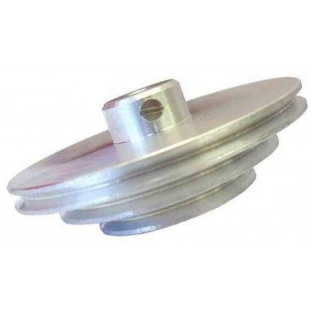Polea triple de aluminio @56/42/29mm ejes 4mm