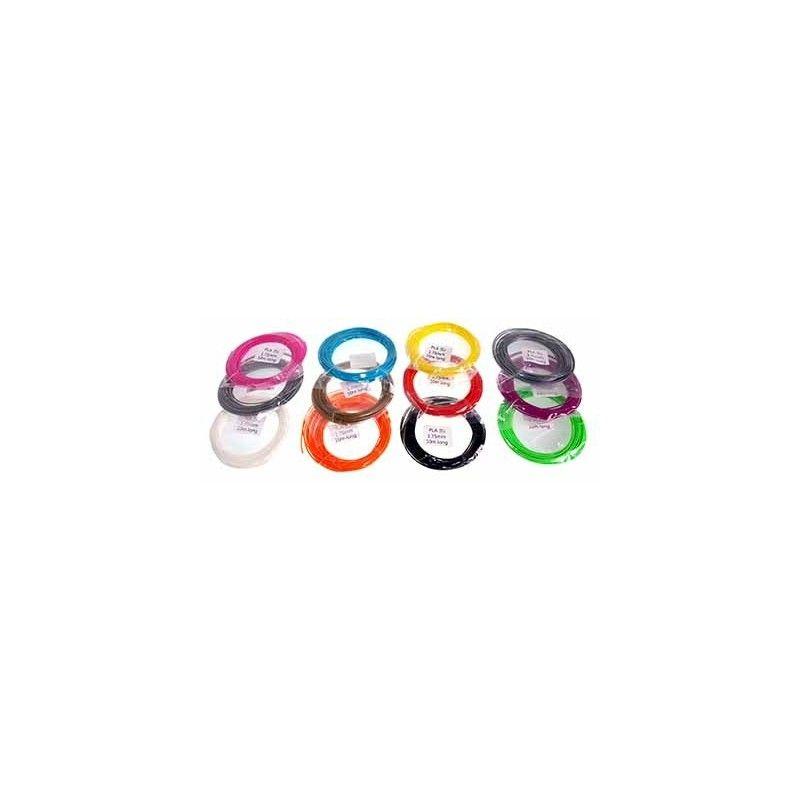 Conjunto de muestras de 10 m. de PLA 12 colores