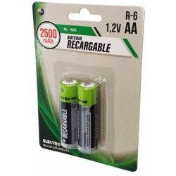 2 Baterías recargables R6 de 1,2V AA 2500 mA