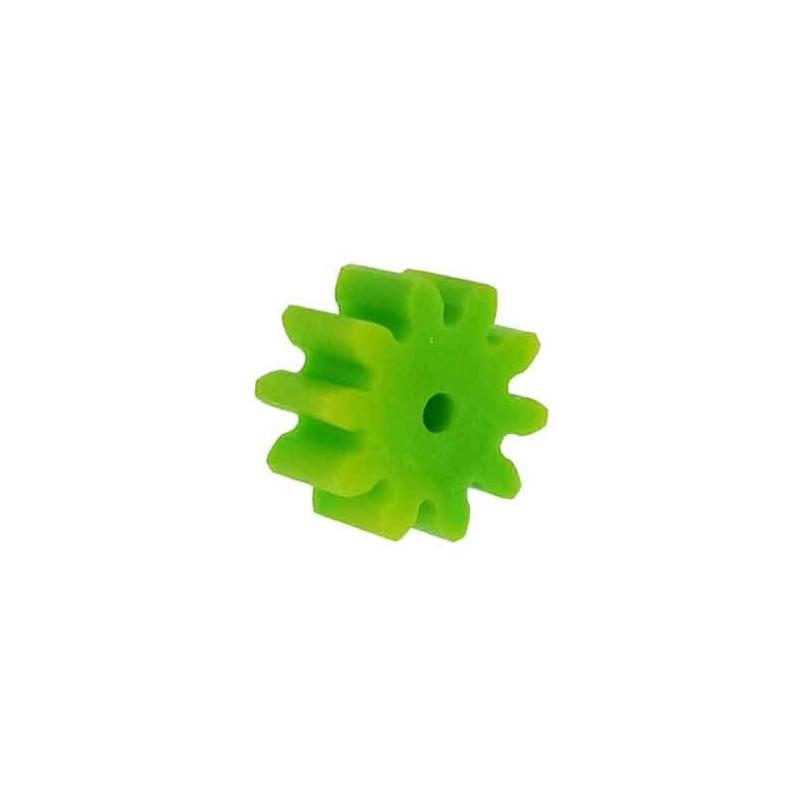 10 Piñones plástico módulo 1, ejes 2 mm.